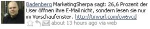 Badenberg: ca. 25% der E-Mail-Leser nehmen die E-Mail nur im Vorschaufenster wahr (Via MarketingSherpa)