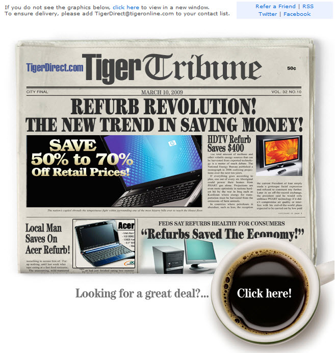 TigerDirect.com: Newsletter in Zeitungsdesign (Quelle: RetailEmailBlog.com)