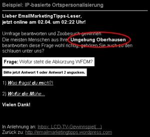 Personalisierung 2: Geo-Positioning bzw. Ortspersonalisierung anhand der IP-Adresse