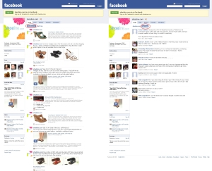 """Abb. 2: Shoeline & Facebook: die Seiten """"Shoeline.com"""" und """"Just Fans"""""""