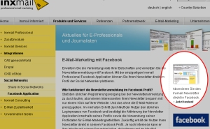 Inxmail-Newsletter in Facebook lesen (Quelle: Inxmail.de)