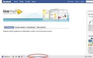 Benutzer-Oberfläche der Inxmail Professional Facebook Application
