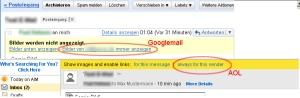 """""""Bilder bei E-Mails vom Absender immer anzeigen""""-Option"""
