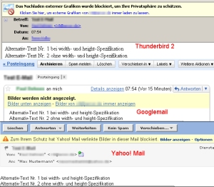 E-Mail-Client/Webmailer stellt keinen Bildplatzhalter sondern nur den alt-Text dar