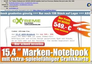 cXtreme Newsletter mit tollen Animationen: Laufschrift, glühender Button und Feature-Highlighting (Click für Vollansich via wai.de)