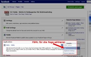 Static FBML-Anwendung editieren