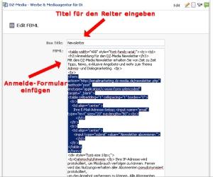 Onlineformular einfügen und Tab benennen