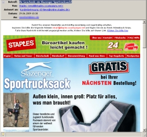 Staples Newsletter mit dezentem, aber effektivem Highlighting der Primärbotschaft