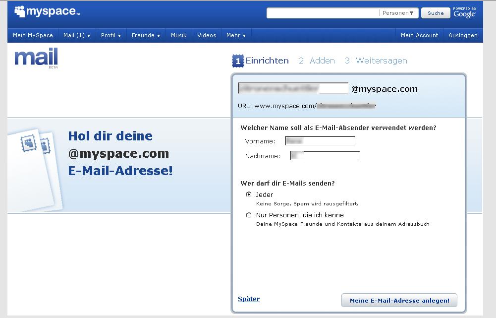 myspace profil löschen lassen