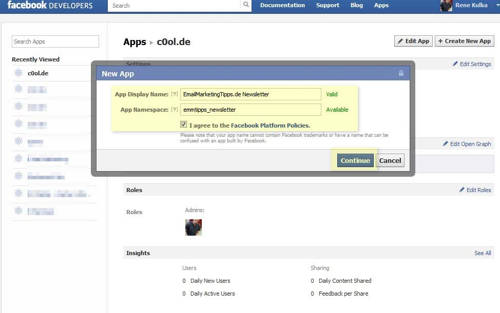 How to add an email-sign-up-tab to your facebook page