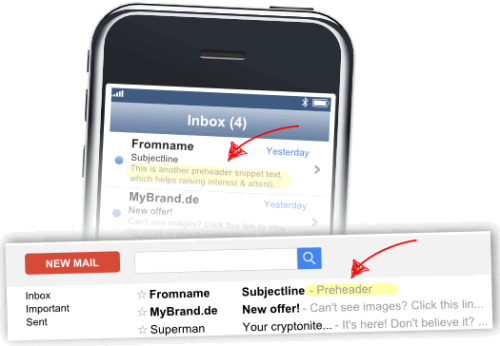 Preheader next to the subject line in Gmail, iPhone, Outlook balloon tips, etc.